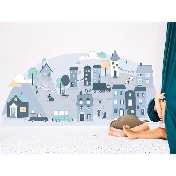 Dekorácia na stenu BLUE SMALL TOWN 178  x 86 cm  - L
