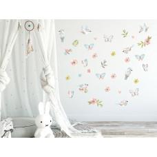 Dekorácia na stenu ANIMALS Birds - Vtáčiky s motýlikmi - hnedá Preview