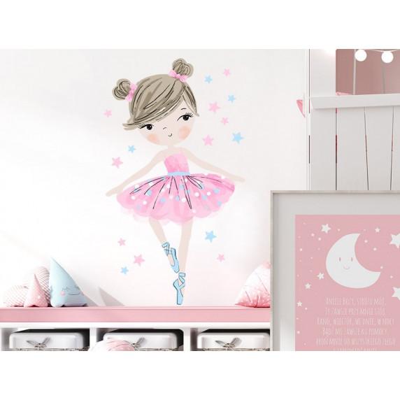 Dekorácia na stenu CHARACTERS Ballerina - Balerinka ružová