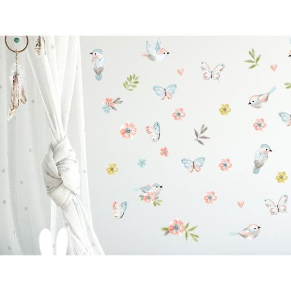Dekorácia na stenu ANIMALS Birds - Vtáčiky s motýlikmi - hnedá