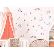 Dekorácia na stenu ANIMALS Birds - Vtáčiky s motýlikmi - pink Preview