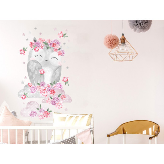 Dekorácia na stenu SECRET GARDEN Owl - Sovička ružová