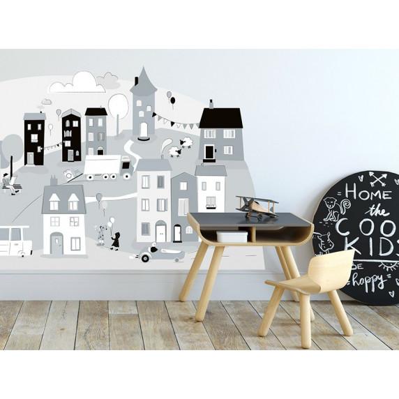 Dekorácia na stenu GRAY SMALL TOWN 150  x 72 cm  - S