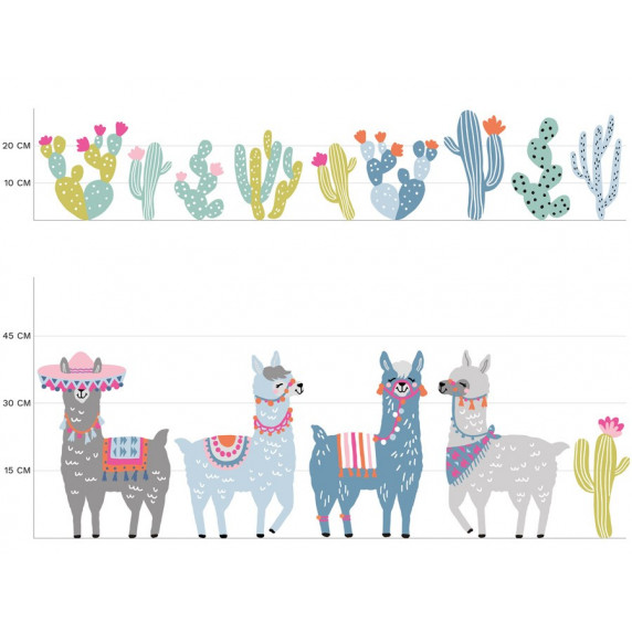 Dekorácia na stenu ANIMALS Llamas - Lama pastel