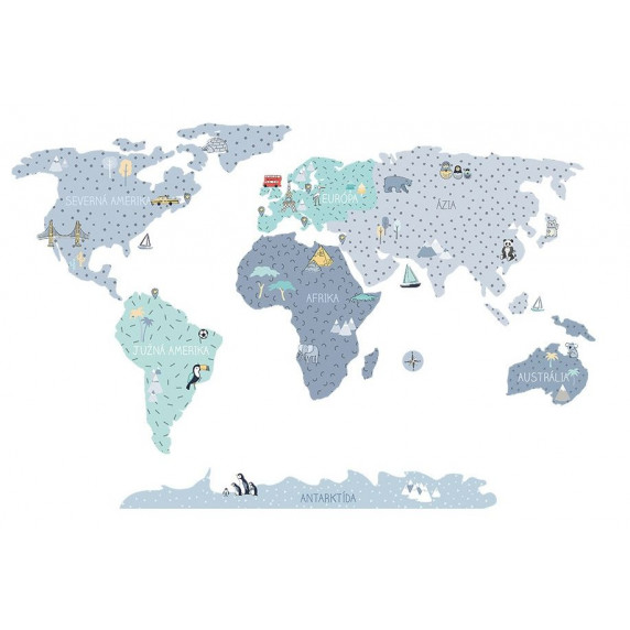 Dekorácia na stenu MAPS BLUE 100 x 50 cm - S - Mapa sveta modrá