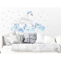 Dekorácia na stenu SECRET GARDEN Swan - Labuť modrá
