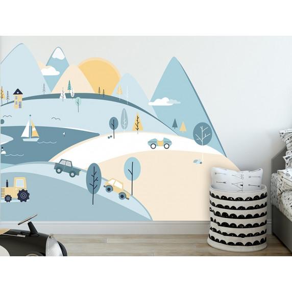 Dekorácia na stenu LIGHT  BLUE MOUNTAINS 150  x 75 cm  - S