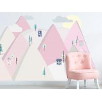 Dekorácia na stenu PINK MOUNTAINS 180 x 90 cm  - L