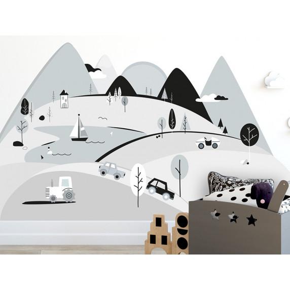Dekorácia na stenu GREY MOUNTAINS 180  x 90 cm  - L
