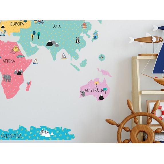 Dekorácia na stenu MAPS COLORFUL 140 x 70 cm - M - Mapa sveta farebná