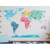 Dekorácia na stenu MAPS COLORFUL 195 x 100 cm - L - Mapa sveta farebná