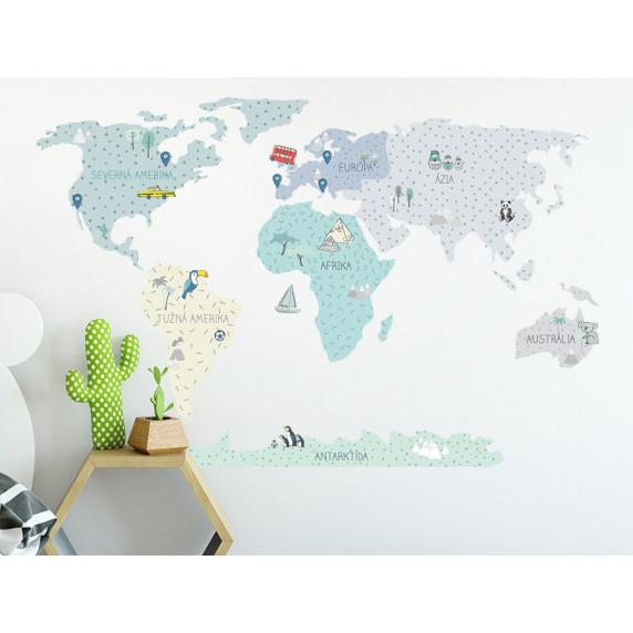 Dekorácia na stenu MAPS MINT 90 x 60 cm - S - Mapa sveta mätová