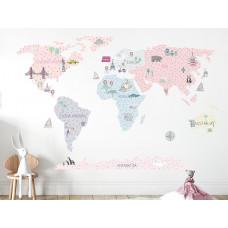 Dekorácia na stenu MAPS PINK 180 x 120 cm - L - Mapa sveta ružová
