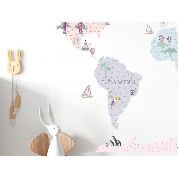 Dekorácia na stenu MAPS PINK 130 x 85 cm - M - Mapa sveta ružová