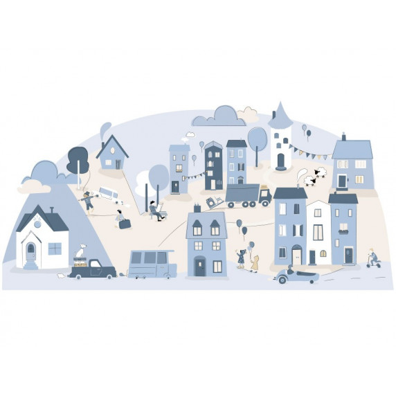 Dekorácia na stenu LIGHT BLUE SMALL TOWN 178  x 86 cm  - L