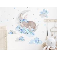 Dekorácia na stenu SECRET GARDEN Sleeping Rabbit - Spiaci zajačik modrý