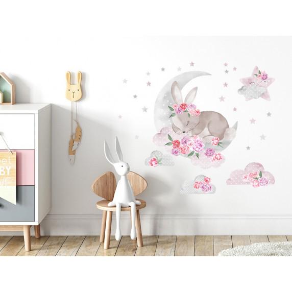 Dekorácia na stenu SECRET GARDEN Sleeping Rabbit - Spiaci zajačik ružový