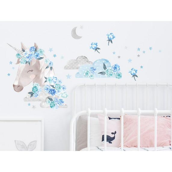 Dekorácia na stenu SECRET GARDEN Unicorn - Jednorožec modrý