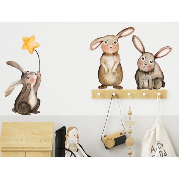 Dekorácia na stenu ANIMALS Bunnies - Zajačikovia