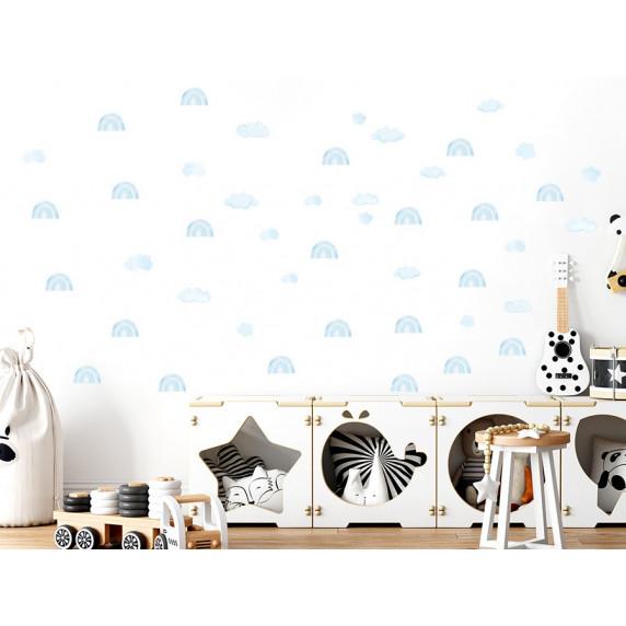 Dekorácia na stenu MINI RAINBOW - Malé dúhy - modré