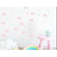 Dekorácia na stenu MINI RAINBOW - Malé dúhy - ružové