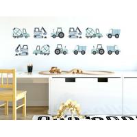 Dekorácia na stenu CONSTRUCTION VEHICLES 12 ks - Nákladné vozidlá - modré