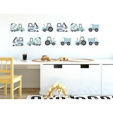 Dekorácia na stenu CONSTRUCTION VEHICLES 12 ks - Nákladné vozidlá - modré Preview