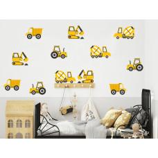 Dekorácia na stenu CONSTRUCTION VEHICLES 12 ks - Nákladné vozidlá - žlté Preview