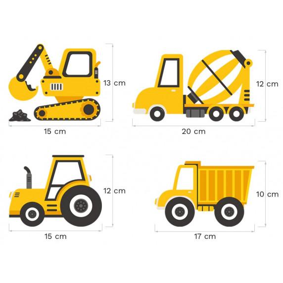 Dekorácia na stenu CONSTRUCTION VEHICLES 12 ks - Nákladné vozidlá - žlté