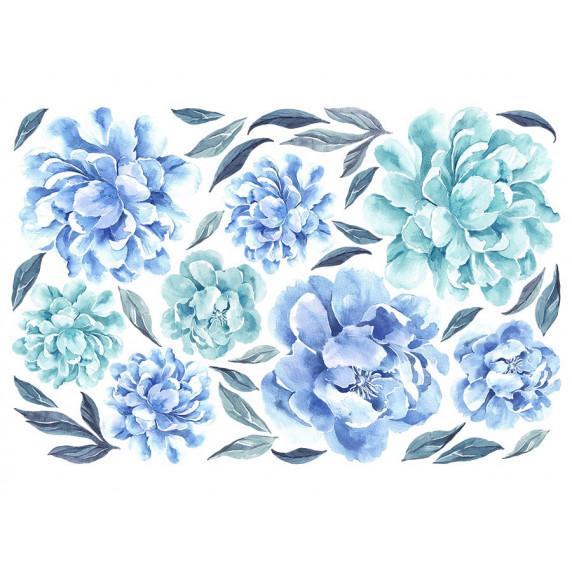Dekorácia na stenu SECRET GARDEN Peonies - Kvety pivonky modré