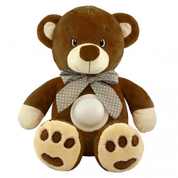 Plyšový zaspávačik medvedík s projektorom Baby Mix tmavo hnedý