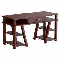 Písací stôl so zásuvkou a policami 140 x 60 x 78,4 cm TAIPIT Comp - Burgundy