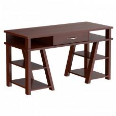 Písací stôl so zásuvkou a policami 140 x 60 x 78,4 cm TAIPIT Comp - Burgundy Preview