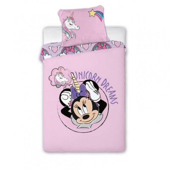 Detské posteľné obliečky Minnie Mouse - jednorožec 140 x 200 cm