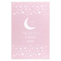 Detský koberec Milujeme mesiac 100 x 160 cm - ružový