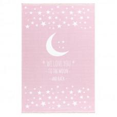 Detský koberec Milujeme mesiac 100 x 160 cm - ružový  Preview