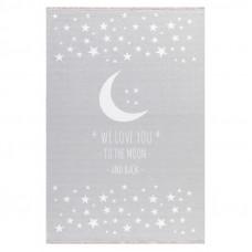 Detský koberec Milujeme mesiac 100 x 160 cm - sivý Preview