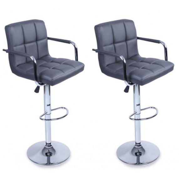 Aga Barová stolička s operadlom 2 kusy MR2010GREY - Sivá