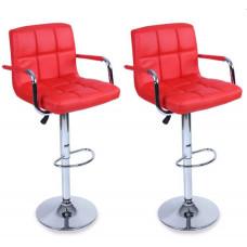 Aga Barová stolička s operadlom 2 kusy BH014  - Červená Preview