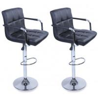 Aga Barová stolička s operadlom 2 kusy MR2010BLACK - Čierná