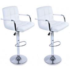 Tresko Barová stolička s operadlom 2 kusy BH016 - Biela Preview