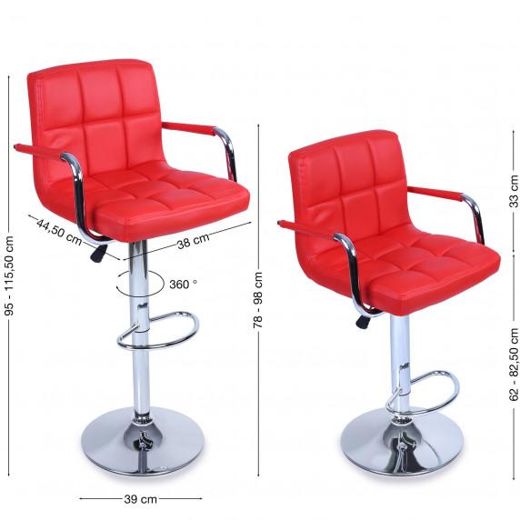 Tresko Barová stolička s operadlom 2 kusy BH014  - Červená
