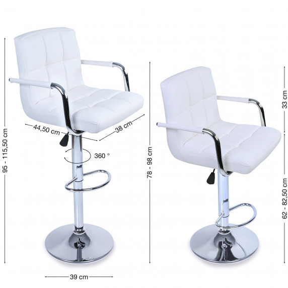 Aga Barová stolička s operadlom 2 kusy MR2010WHITE - Biela