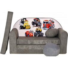 Aga detská pohovka MAXX 040 -Rozprávkové autá/sivé Preview