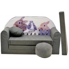 Aga detská pohovka MAXX 071- Zajačik/siví Preview