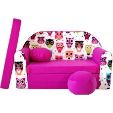 Aga detská pohovka MAXX 552 - Sovičky/ružová Preview