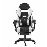Kancelárske kreslo s opierkou na nohy Aga MR2040White - čierno-biele