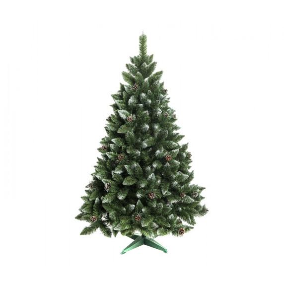 AGA Zasnežený vianočný stromček 180 cm so šiškami + umelohmotný stojan