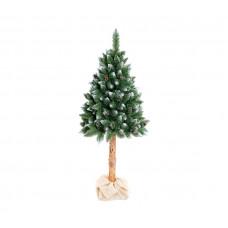 AGA Zasnežený vianočný stromček 160 cm s kmeňom a šiškami