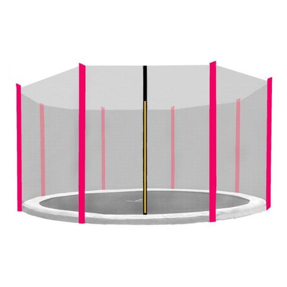 Ochranná sieť na trampolínu s celkovým priemerom 366 cm na 8 tyčí - ružová
